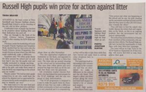 Russell High pupils win prize for action against litter - The Witness